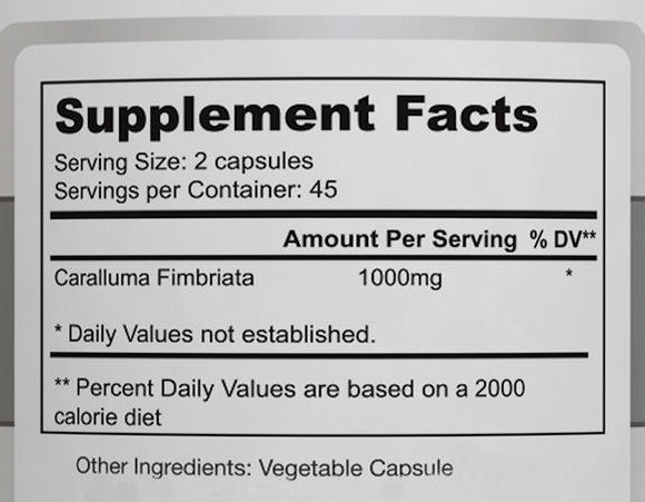 Caralluma Fimbriata Supplement Facts