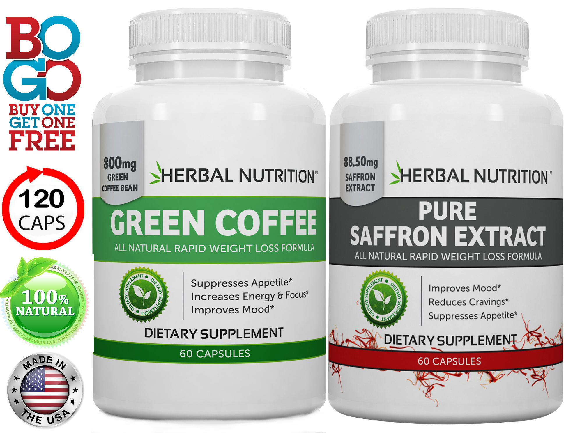 Saffron & Green Coffee Bean Extract Stack Bottles