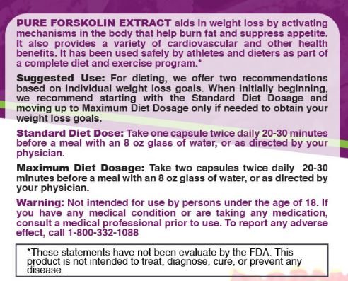 Forskolin Extract Directions
