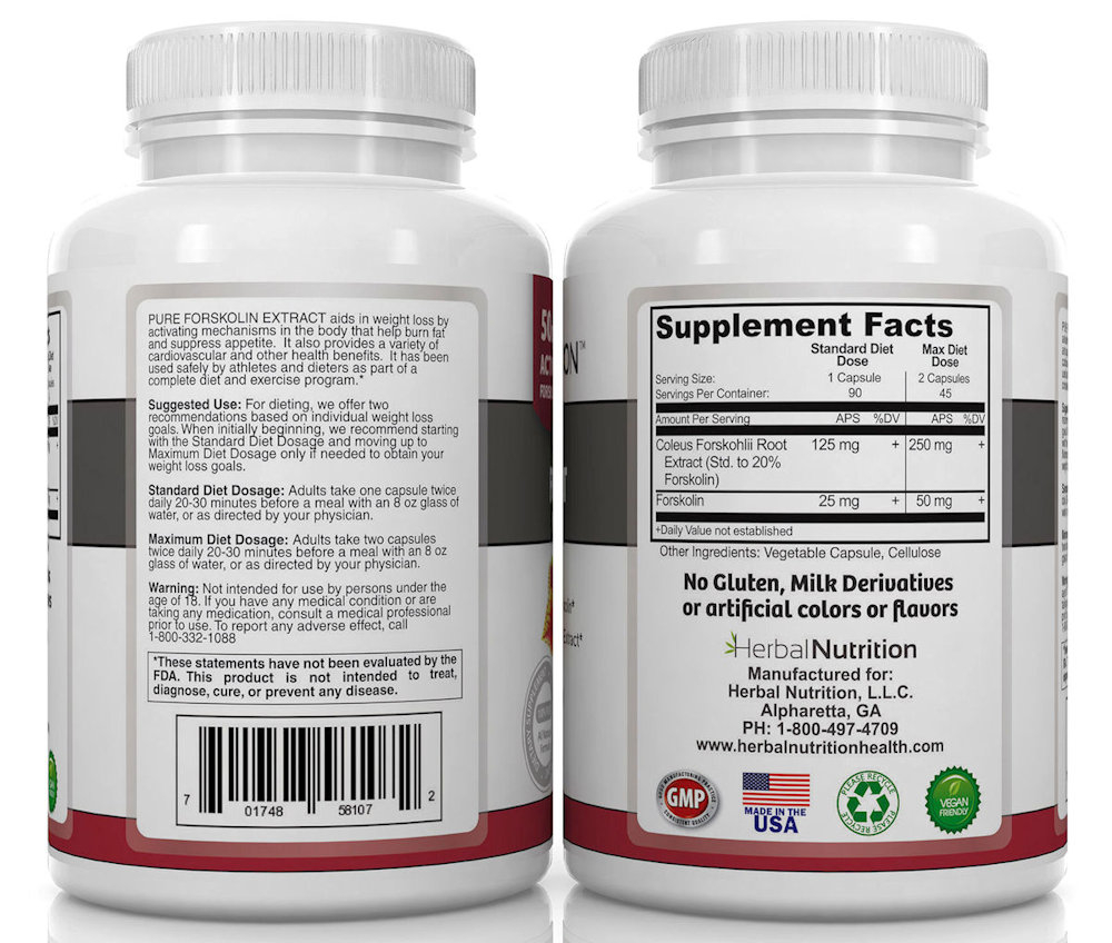 Forskolin Back of Bottles