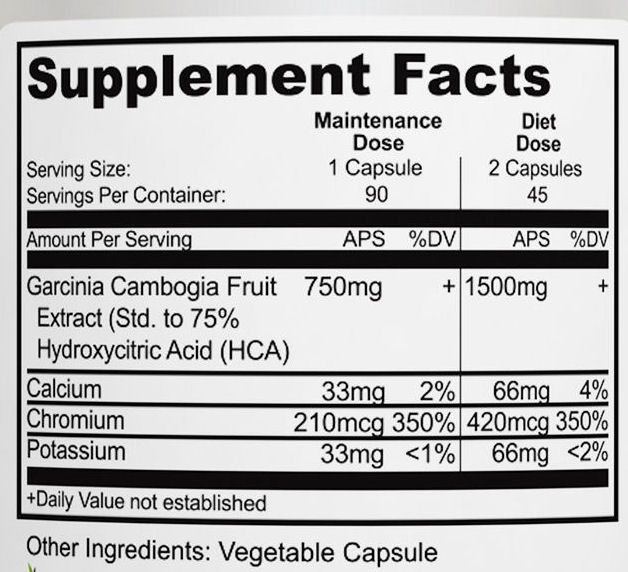 Gacinia Cambogia Supplement Facts