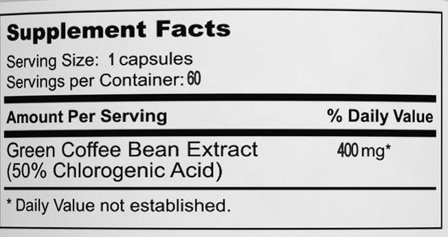Green Coffee Bean Extract Supplement Facts