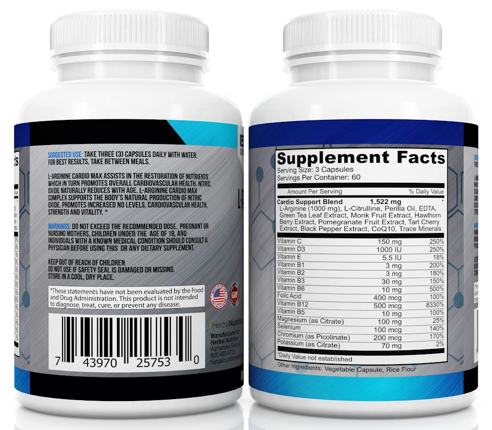 L-Arginine Cardio Max Facts & Directions