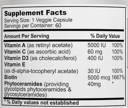 Phytoceramides Supplement Facts
