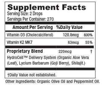 D3 K2 Liquid Vitamin Supplement Facts