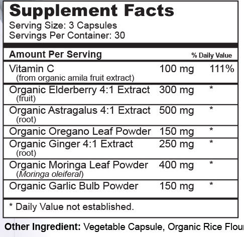 Immuno Complete Supplement Facts